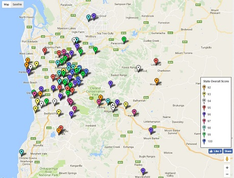 Feature map of SA / Adelaide primary school ratings