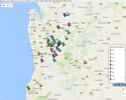 Feature Map of SA / Adelaide's Top Secondary School Ratings