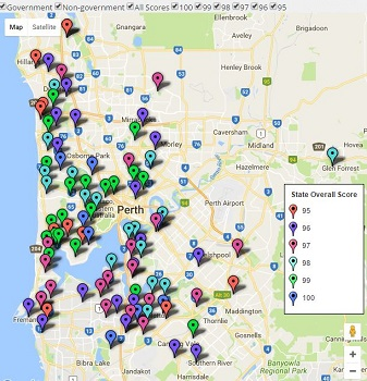 Feature Map - WA / Perth Top Primary School Ratings