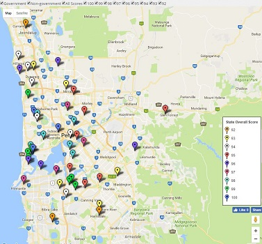 Feature Map of Perth / WA's Top Secondary School Ratings