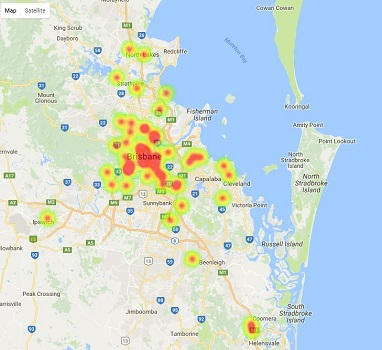 Heatmap of Brisbane top high schools