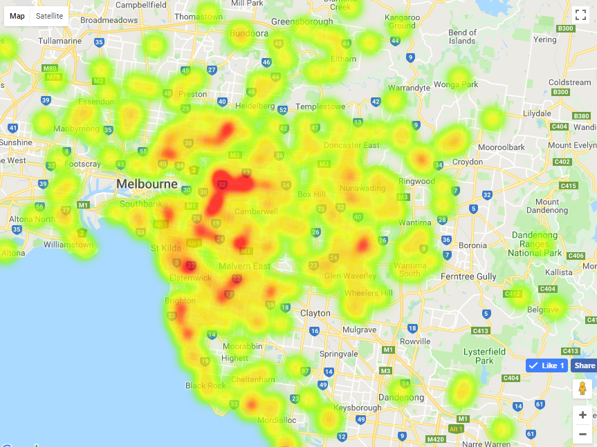 Feature map of best primary schools in greater Geelong