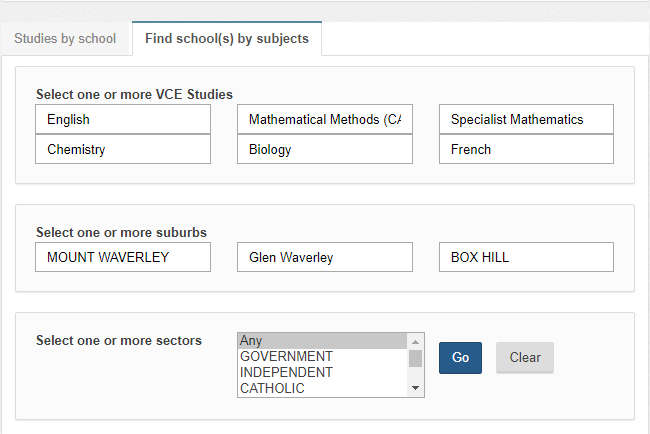 VCE Studies And Schools Search