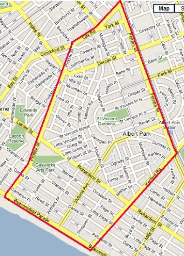 School zone of Albert Park Primary School, Bridport Street, Albert Park, 3206, VIC