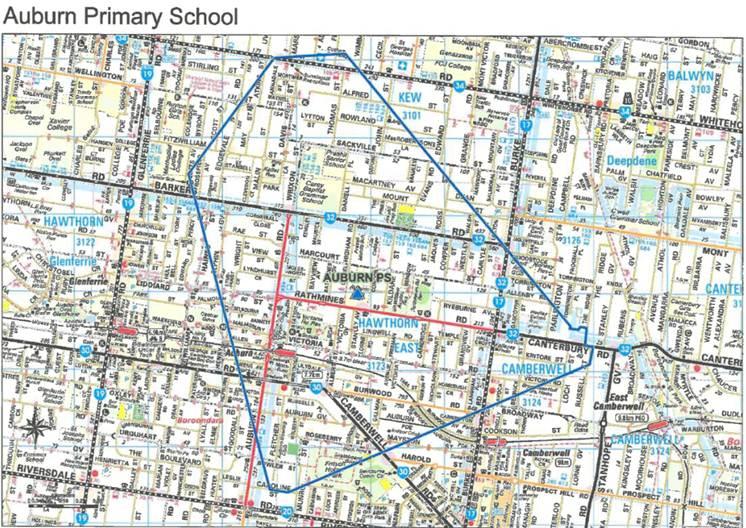 School zone of Auburn Primary School, Rathmines Rd, HAWTHORN EAST, 3123, VIC