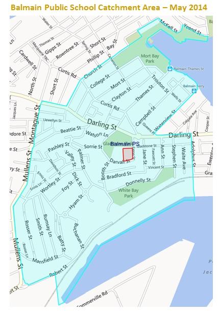 School zone of Balmain Public School, 1 Eaton Street, Balmain, 2041, NSW