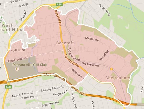School zone of Beecroft Public School, 90-98 Beecroft Road, Beecroft, 2119, NSW