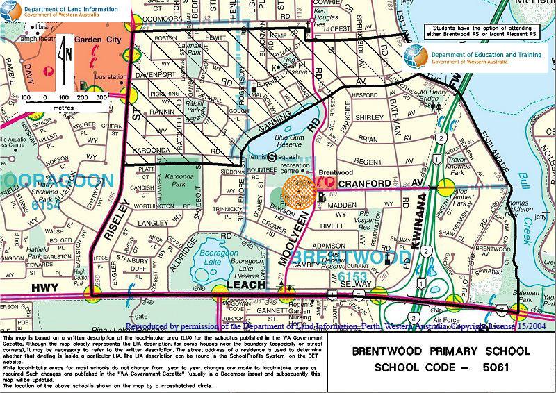 School zone of Brentwood Primary School, 45 Moolyeen Road, Brentwood, 6153, WA
