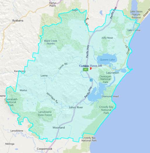 School zone of Camden Haven High School, Valley View Rd, Kew, 2443, NSW