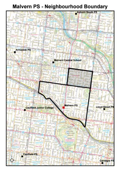 School zone of Malvern Primary School, 17 Tooronga Road, East Malvern, 3145, VIC
