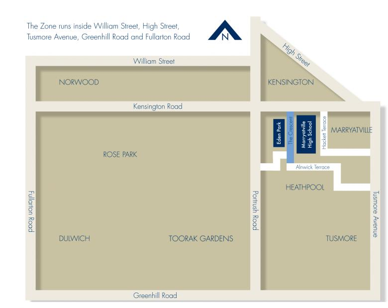 School zone of Marryatville High School, 170 Kensington Road, Marryatville South, 5068, SA